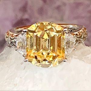 Tacori Yellow Diamond 925Silver CZs Ring Size 6